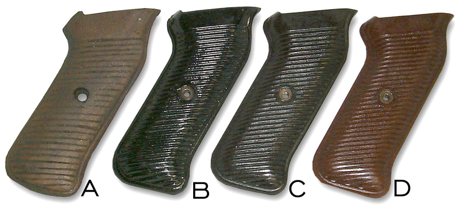 Variations in Colour and material of MP40 hand grips