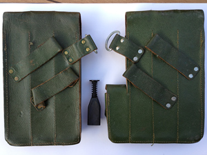 A Norwegian MP40 pouch set (back) including the Norwegain magazin loader