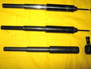 Telescope springs: MP38 (top), MP40 (middle), FPB (Post war Portuguese)
