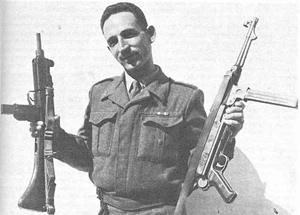 a unique photo of Major Uziel Gal holding an Uzi and a MP38