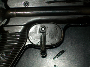 Winter trigger installed on MP40 (right view)