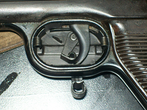 Winter trigger installed on MP40 (left open view)