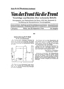 Von der Front fur die Front of the 22nd of September 1944
