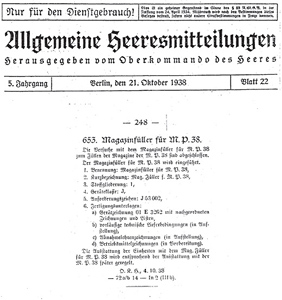 "The ""Allgemeine Heeresmitteilungen"" of the 21.st of October 1938"