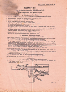 Instruction sheet for handling the machine pistol to prevent jamming